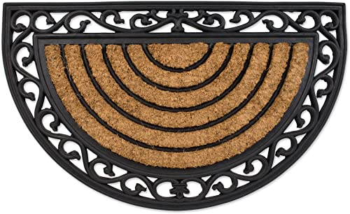 Natural Coir Tuffridge PVC Non-Slip Half Round Doormat, 18×30 , Heavy Duty Entry Way Shoes Scraper Patio Rug Dirt Debris Mud Trapper Waterproof-Wrought Iron