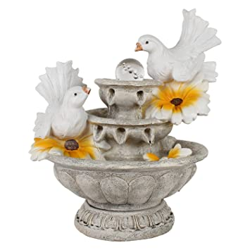 Home Decor Water Fountain Two Swan Fountain with Flower with Motor