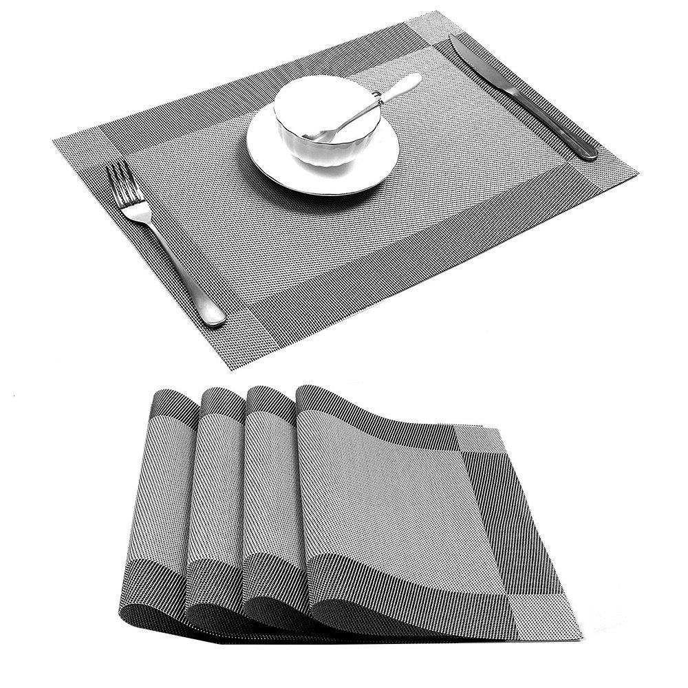 ASSR織ビニールプレースマット、耐熱プレースマット汚れ防止滑り防止洗濯可能PVCテーブルマット、6のセット set of 4 グレー XA228A21-940-1610098231 set of 4 グレー B07C9MZQKH