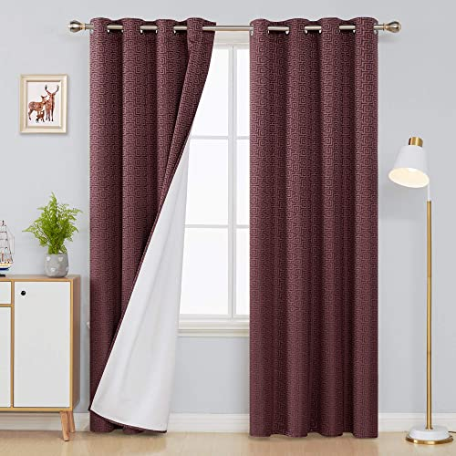 Deconovo Decorative Modern Geometric Maze Jacquard Full Blackout Curtains with Thermal Insulated Lining Grommet Energy Saving Living Room Blackout Curtain Panels 52×108 Inch 2 Panels Wine