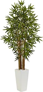 Nearly Natural 5' Bamboo Artificial Tree in White Tower Planter, Green
