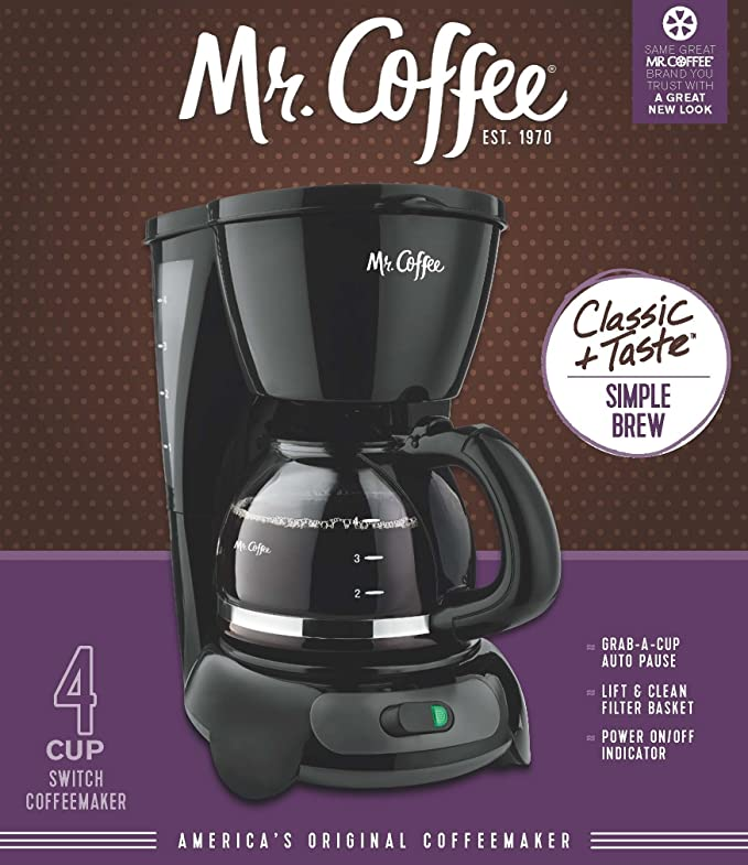 Amazon Mr Coffee 4 Cup Switch Coffee Maker Black Drip