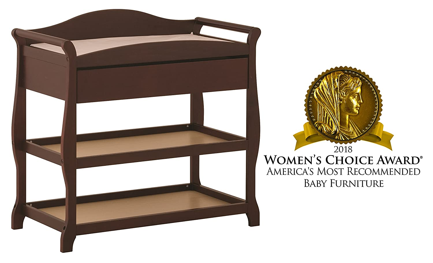 Sleigh Design Changing Table with Changing Pad and Safety Strap Oversized Drawer and Two Storage Shelves Cherry Storkcraft Aspen Changing Table with Drawer