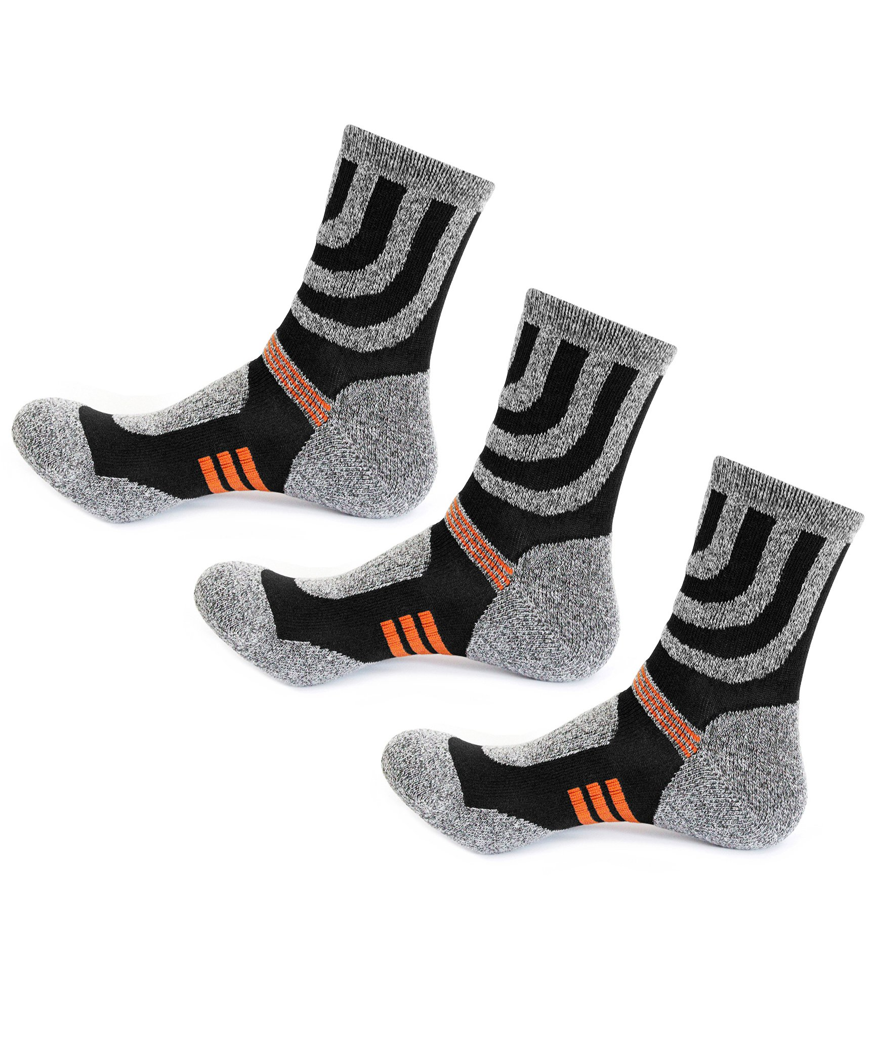 3 Pairs Men Women Hiking Socks-Outdoor Running Walking Camping,US Size 4-8,Grey