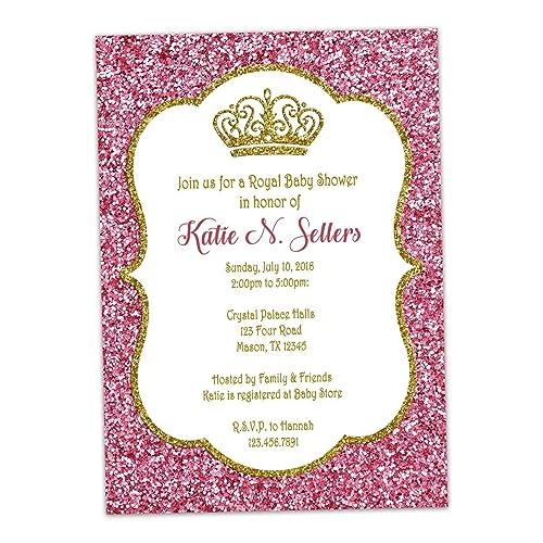Amazon pink gold glitter baby shower invitations princess royal pink gold glitter baby shower invitations princess royal crown filmwisefo Choice Image