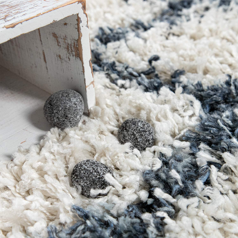 30 Paco Home Shaggy Teppich Wohnzimmer Hochflor Modern Karomuster Rauten In  Creme Blau, Grösse10x10 cm