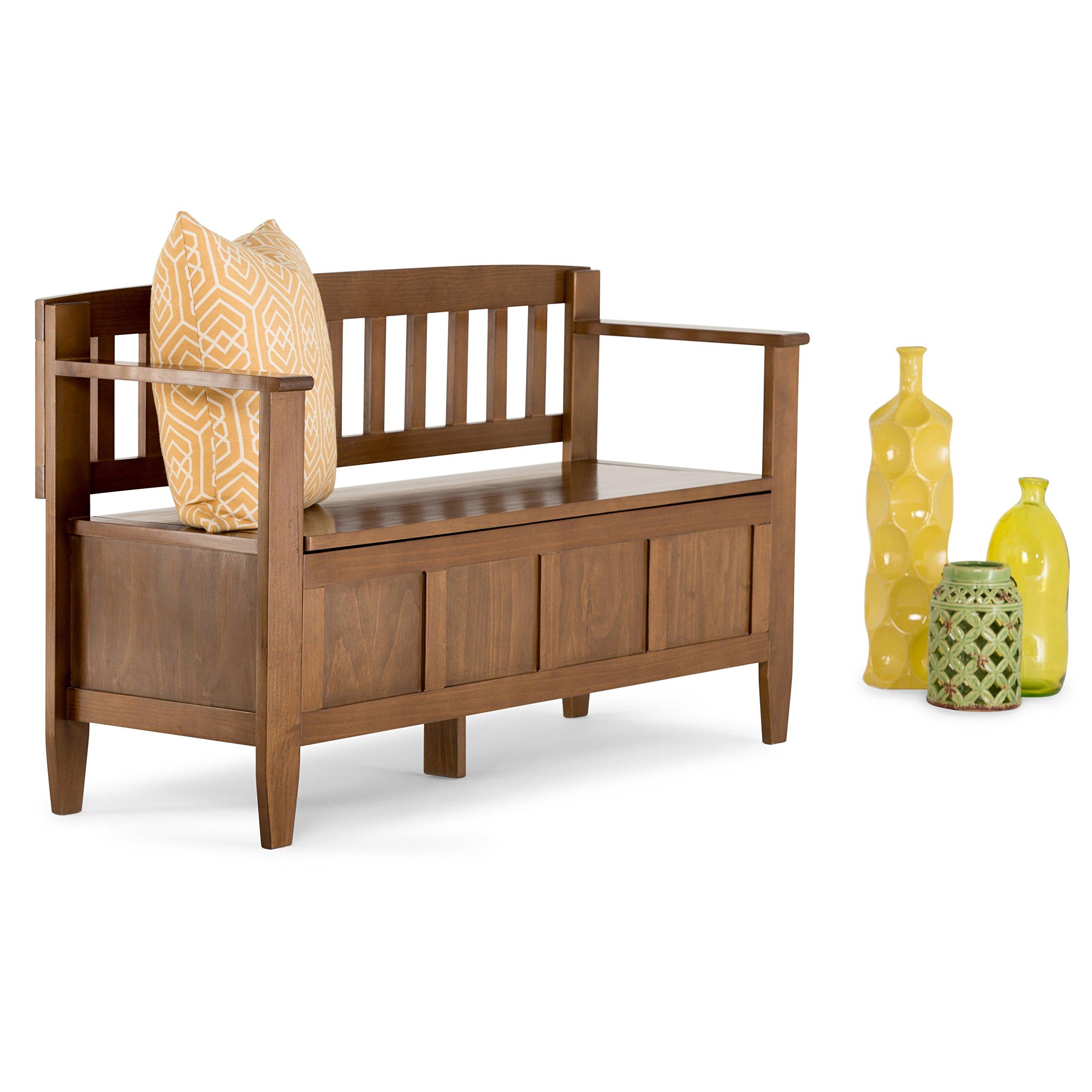 Simpli Home Brooklyn Solid Wood Entryway Storage Bench, Medium Saddle Brown by Simpli Home (Image #2)