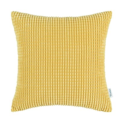 Beau CaliTime Cozy Throw Pillow Cover Case For Couch Sofa Bed Comfortable  Supersoft Corduroy Corn Striped Both