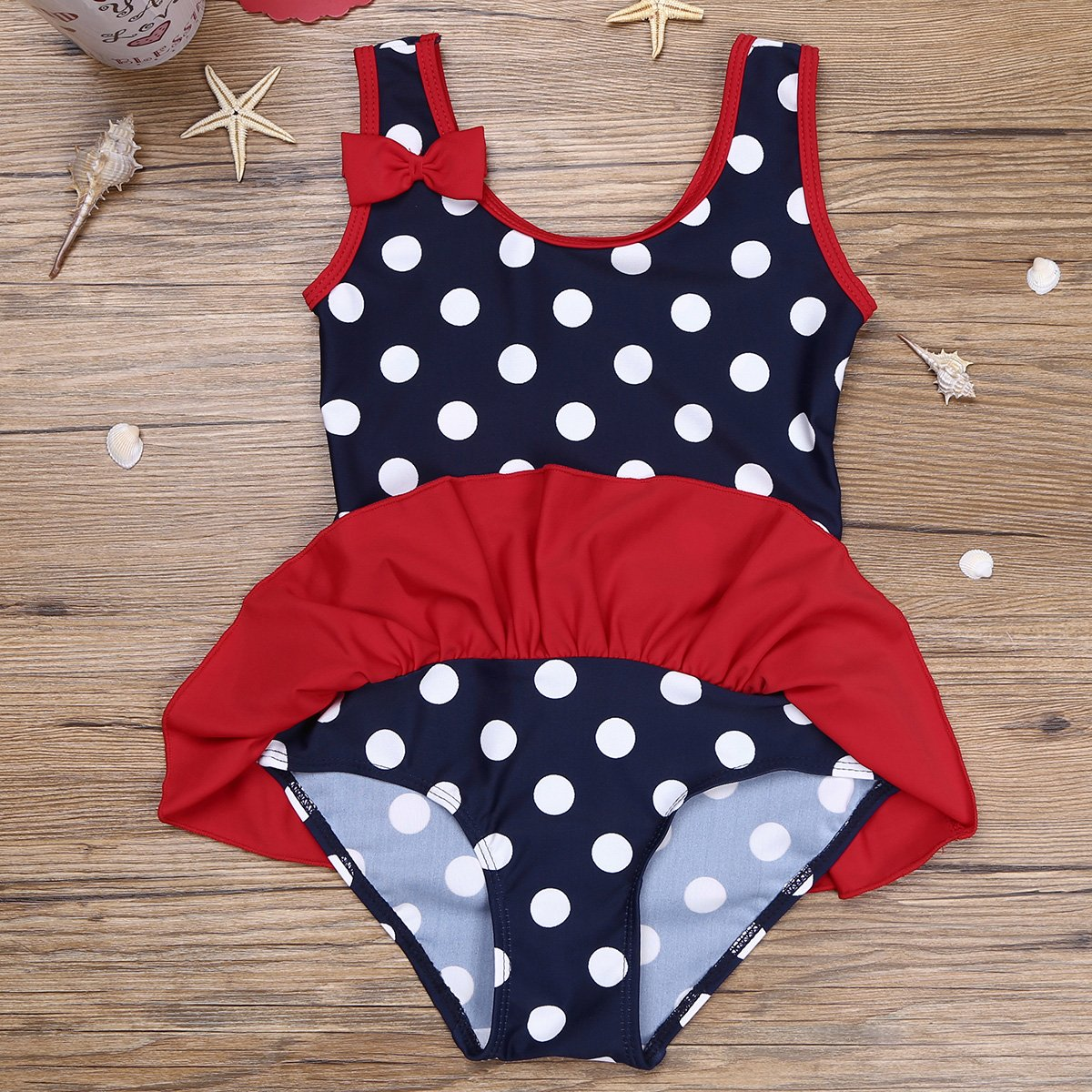 iiniim Infant Baby Girl's One Piece Polka Dots Swimsuit Ruffles Bikini Swimwear Toddler Bathing Suit