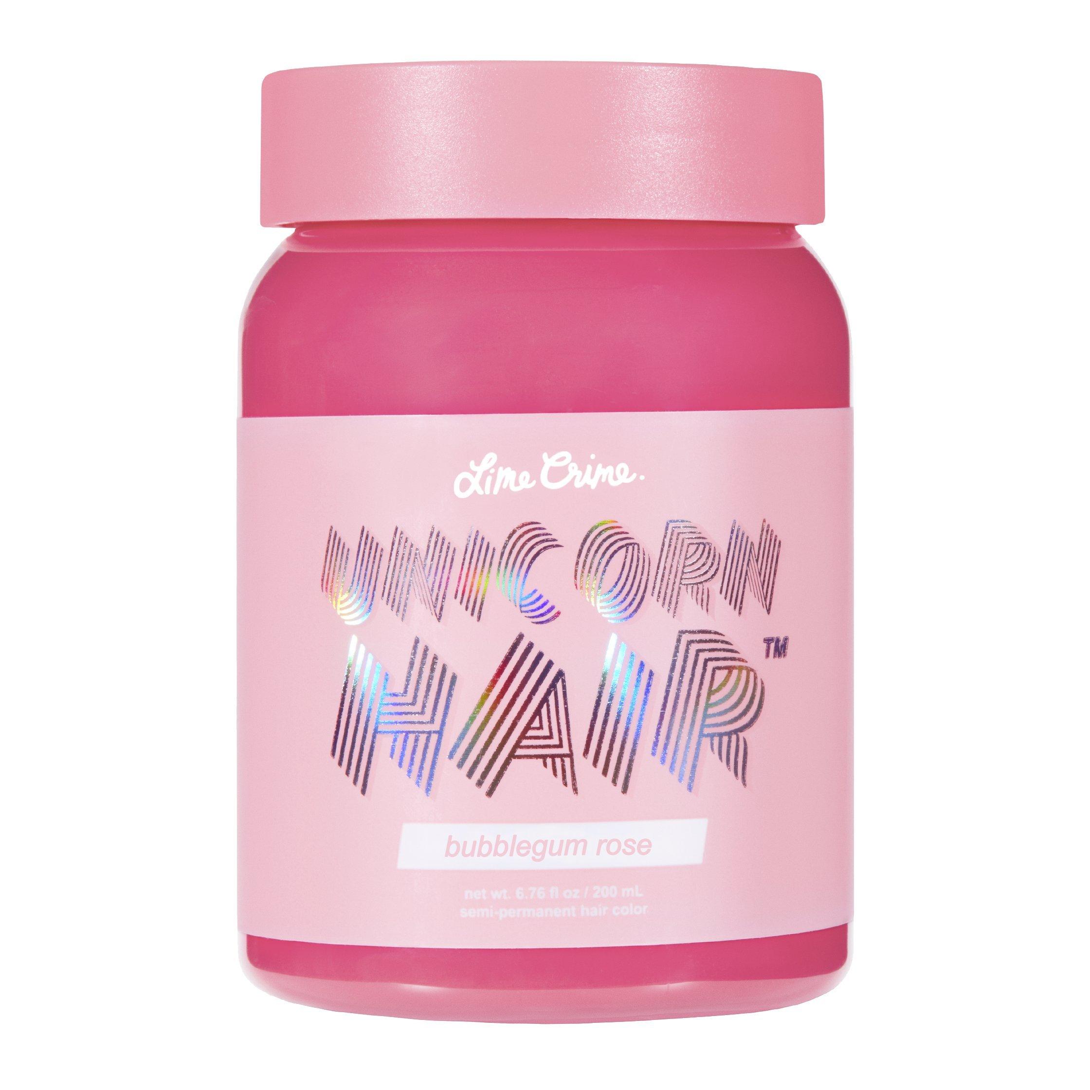 Lime Crime Unicorn Hair Bubblegum Rose (Full Coverage). Semi Permanent Hair Dye. Warm Rose Pink Vegan Hair Color (6.76 fl oz/200 mL).