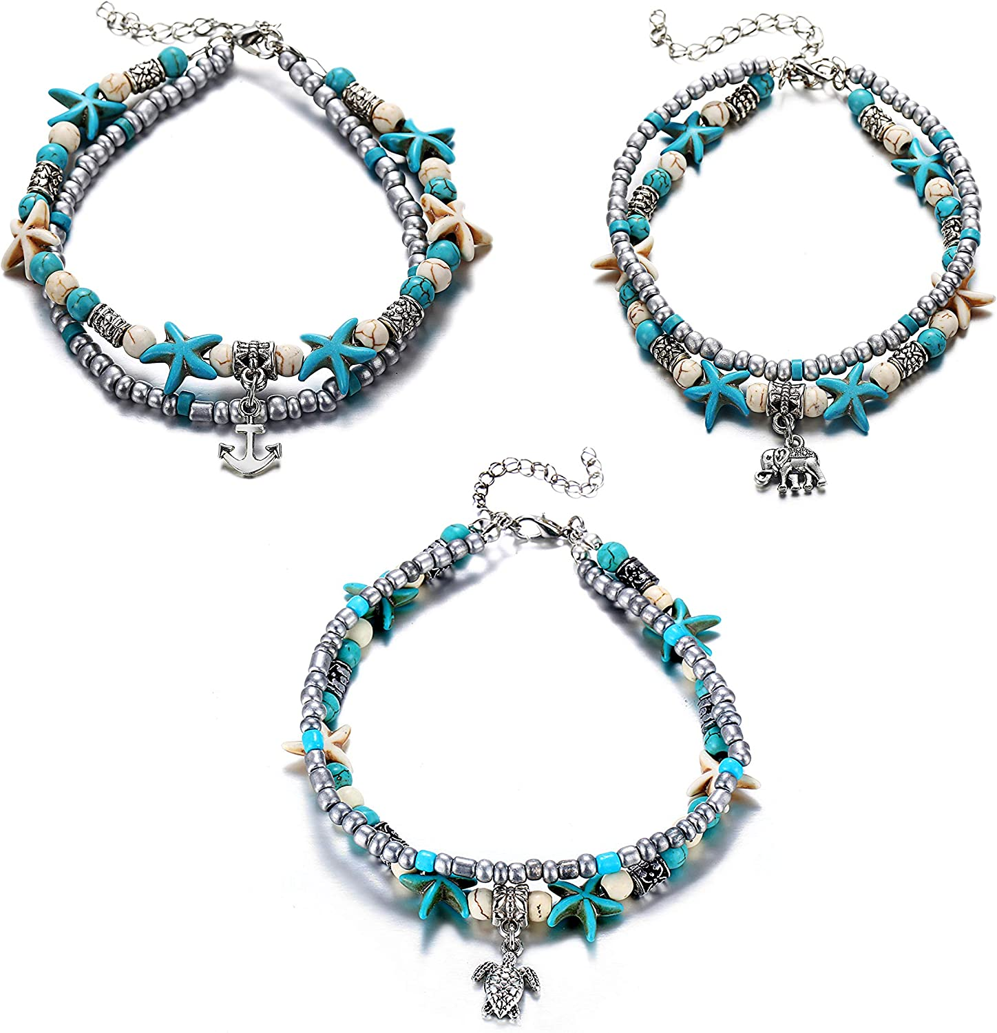 3 pcs Set Simulated Turquoise Blue Starfish Multilayer Yoga Beach Anklets Bracelet Boho Foot Jewelry for Women Teen Girls Y811