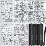 TEOYALL 42 Pcs Journal Planner Stencils Plastic Stencils with 12 Color Fineliner Pens DIY Stencils Set for Notebook…