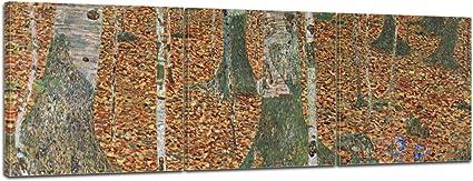 Bilderdepot24 Imagen Lienzo Foto Panorama Gustav Klimt - Viejos Maestros Bosque de abedules 120x40 cm 3tlg. - Totalmente Enmarcado, Directamente del Fabricante: Amazon.es: Hogar