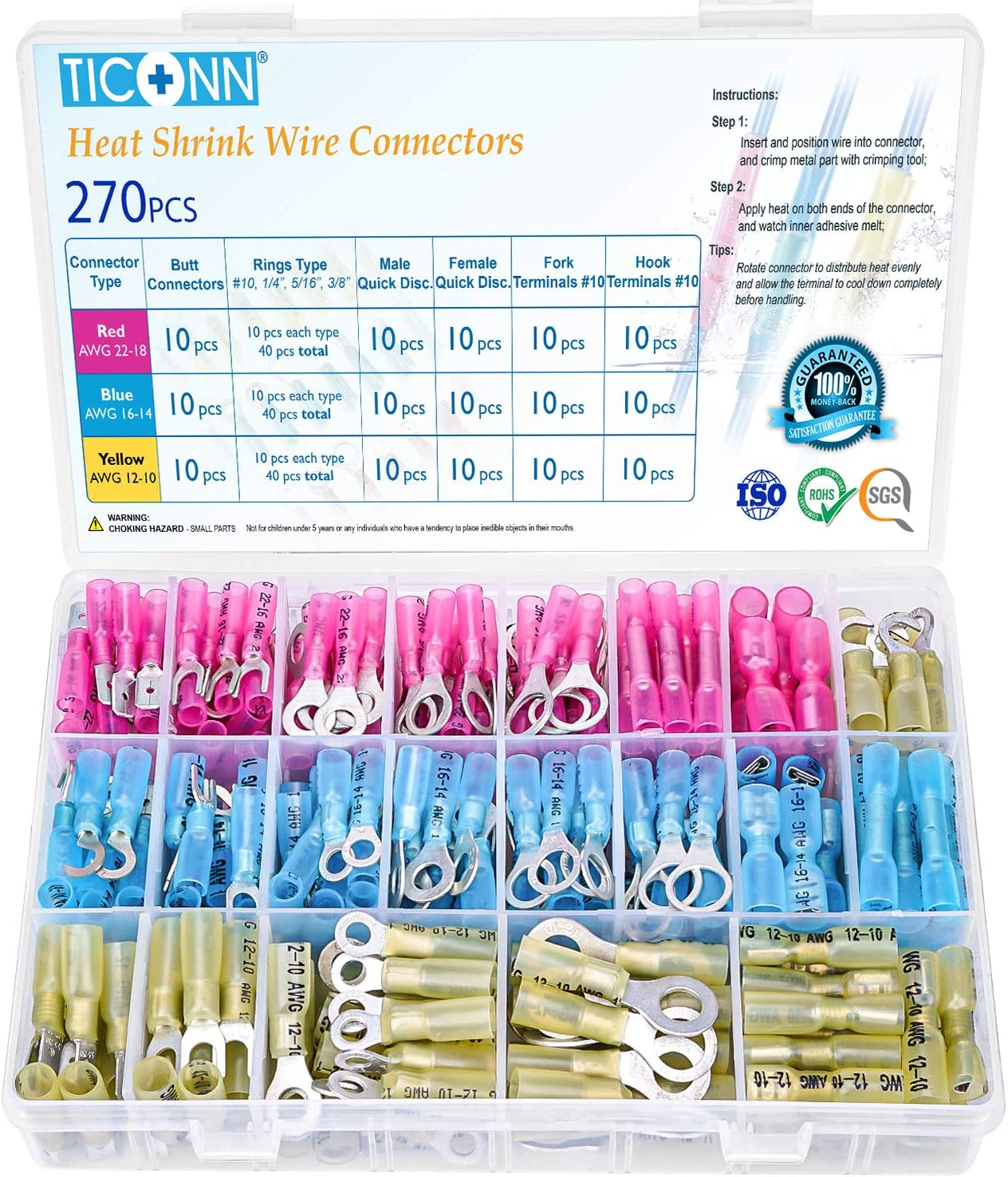 TICONN 270 Pcs Heat Shrink Wire Connectors, Waterproof Automotive Marine Electrical Terminals Kit, Crimp Connector Assortment, Ring Fork Hook Spade Butt Splices