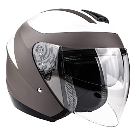 Amazon.com: Typhoon 3/4 Casco con escudo facial y protector ...