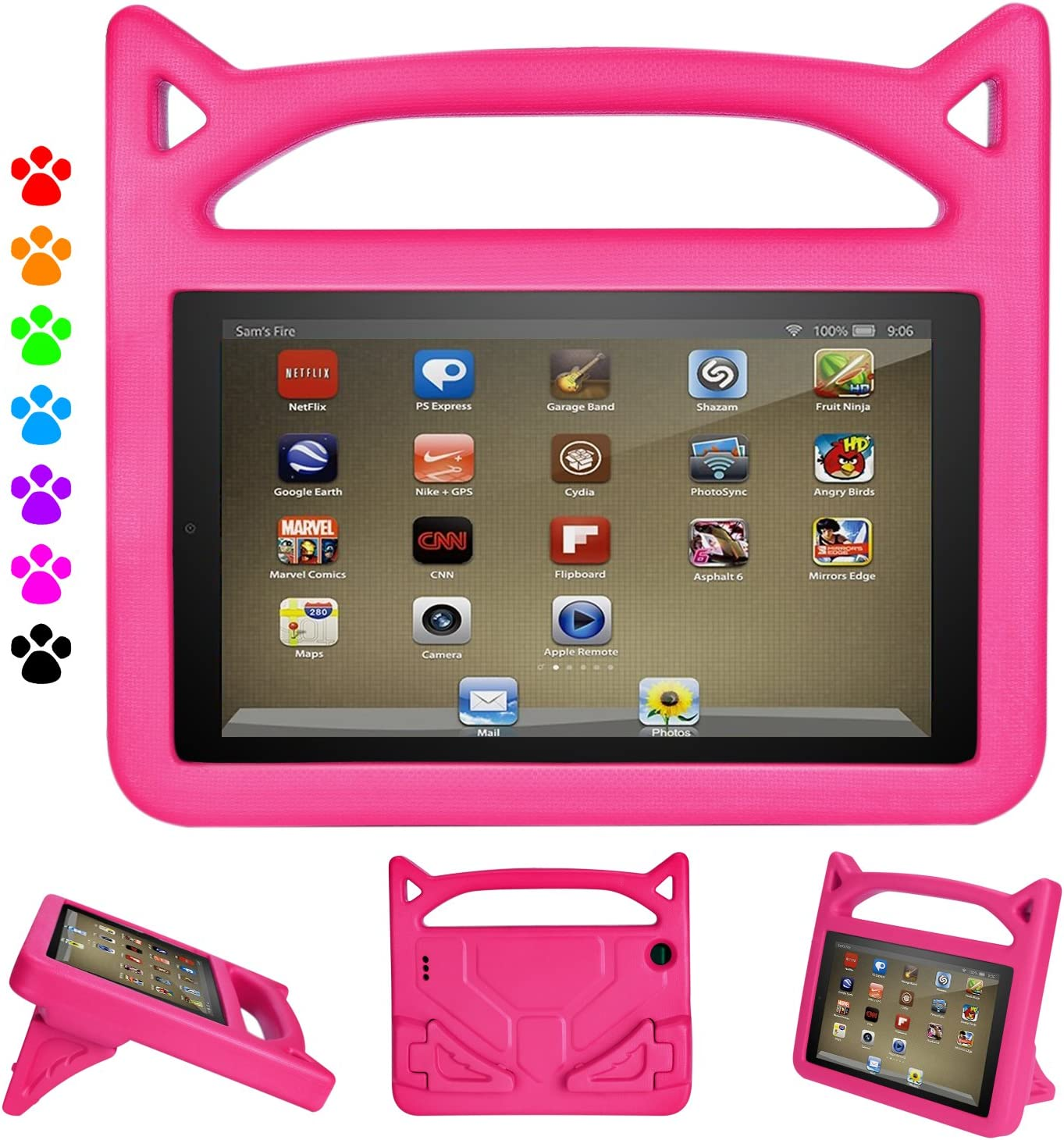 Fire 7 Tablet Case for Kids, Ubearkk Kids Shock Proof Protective Cover Case for Amazon Fire 7 Tablet (Compatible with 5th/7th/9th Generation 2015/2017/2019 Release) (Pink)