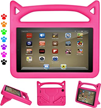 Amazon Com Dihines Fire 7 Tablet Case 9th Generation Shock Proof Protective Handle Cover For Amazon Kindle Fire 7 Tablet Compatible With 2019 2017 Release Pink Electronics