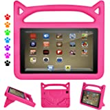 Fire 7 Tablet Case for Kids-Auorld Light Weight Shock Proof Handle Protective Cover with Built-in Stand for Fire 7 inch Display Tablet (Compatible with 2015&2017 Release) (Pink)