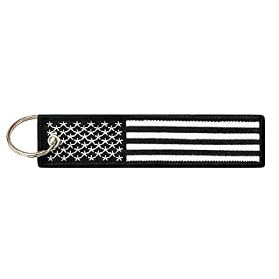 Flag Keychain Tag with Key Ring, EDC for Motorcycles, Scooters, Cars and Gifts (USA Black and White): Automotive