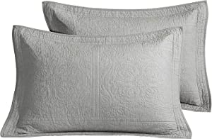 WINLIFE 100% Cotton Quilted Pillow Sham Floral Printed Pillow Cover King Size,Set of 2, Grey