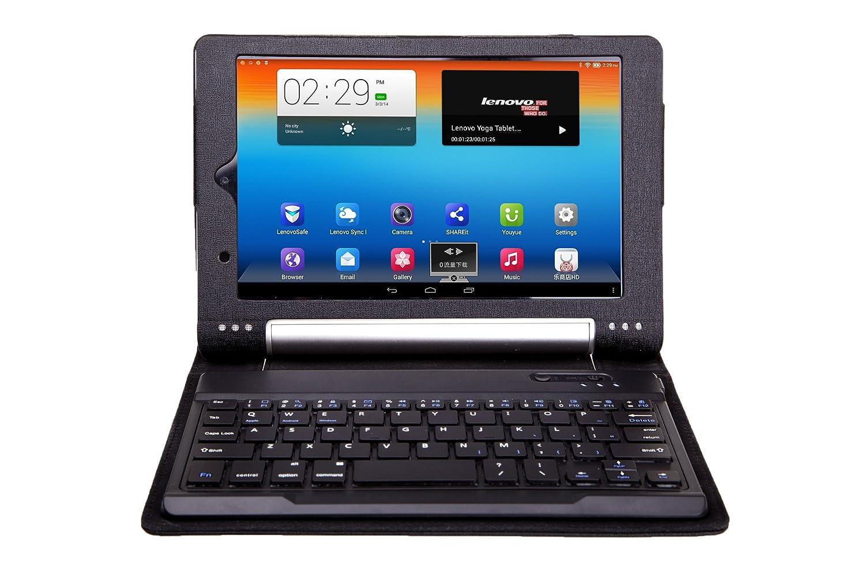IVSO Funda de Cuero con Teclado QWERTY Bluetooth para Lenovo Yoga Tablet 8 (Negro)