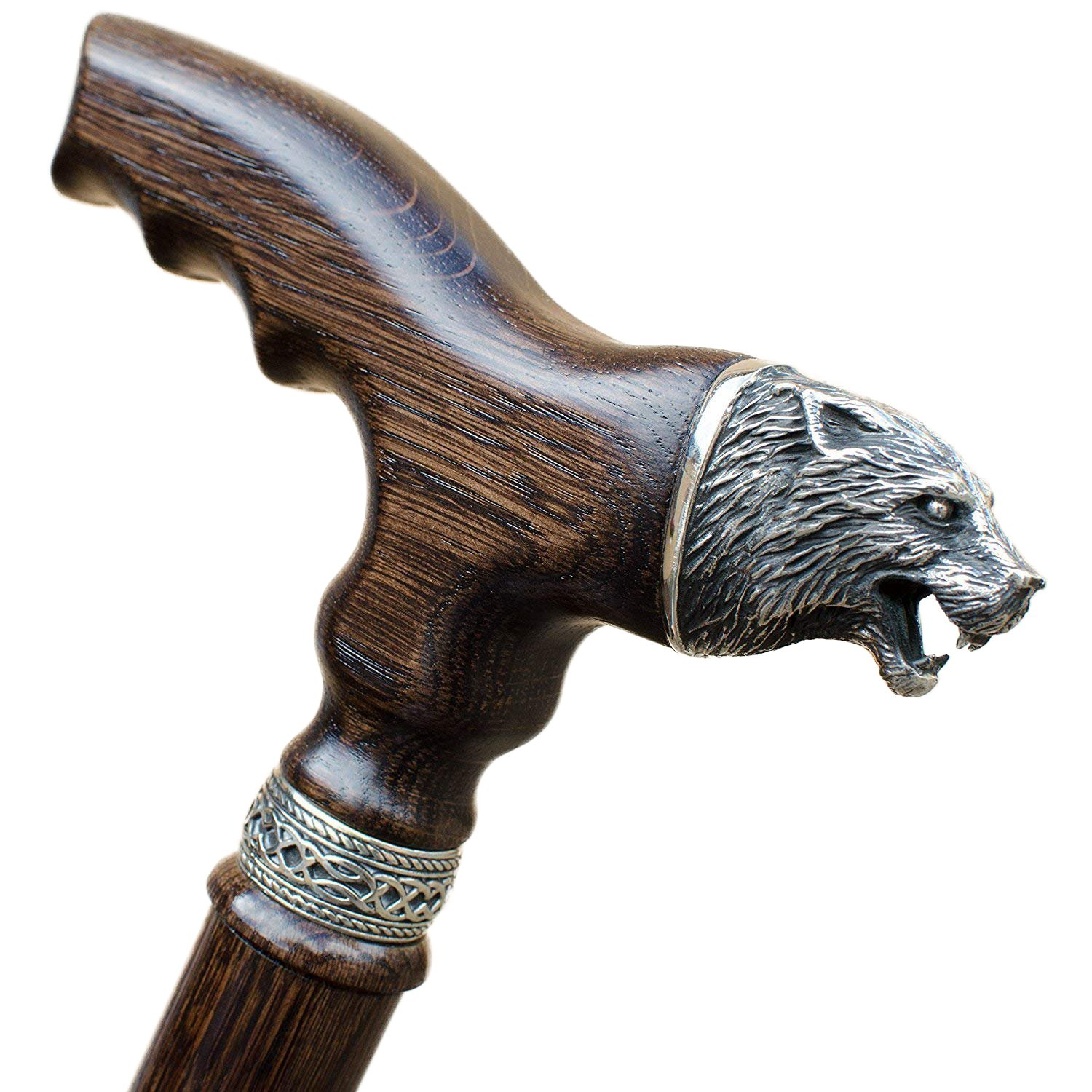 Asterom Handmade Walking Sticks for Men Fashionable Fancy Mens Cane with Wolf Head - Wooden Walking Stick Designer Canes