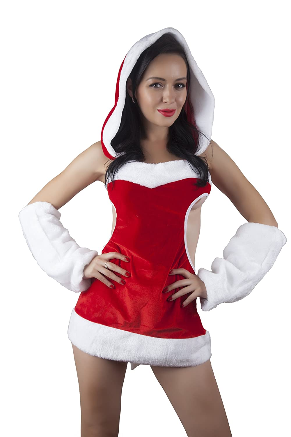 Amazon.com: LA ansia Sexy Women Christmas Lingerie Costume Baby Dolls  Chemise Mini Teddy Holiday Outfit With Hat Tail and White Sleeves: Clothing