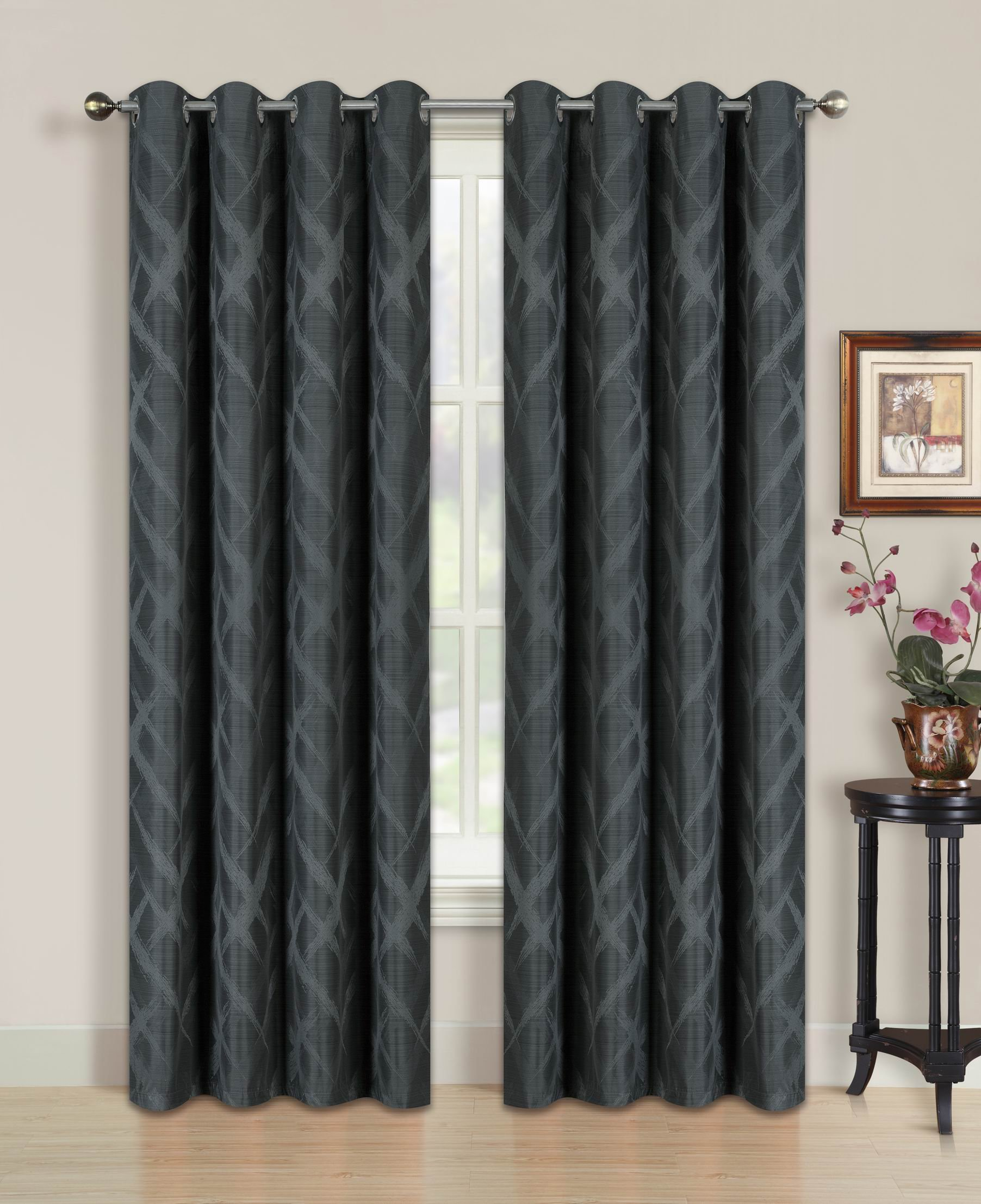 All American Collection Blackout Curtain with Brushed Diamond Pattern | 84'' Length | Grommet Design
