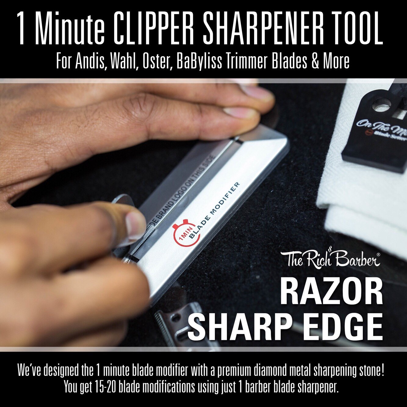 1Min Blade Modifier by The Rich Barber | 1 Minute Clipper Sharpener Tool for Andis, Wahl, Oster, BaByliss Trimmer Blades & More by The Rich Barber (Image #3)