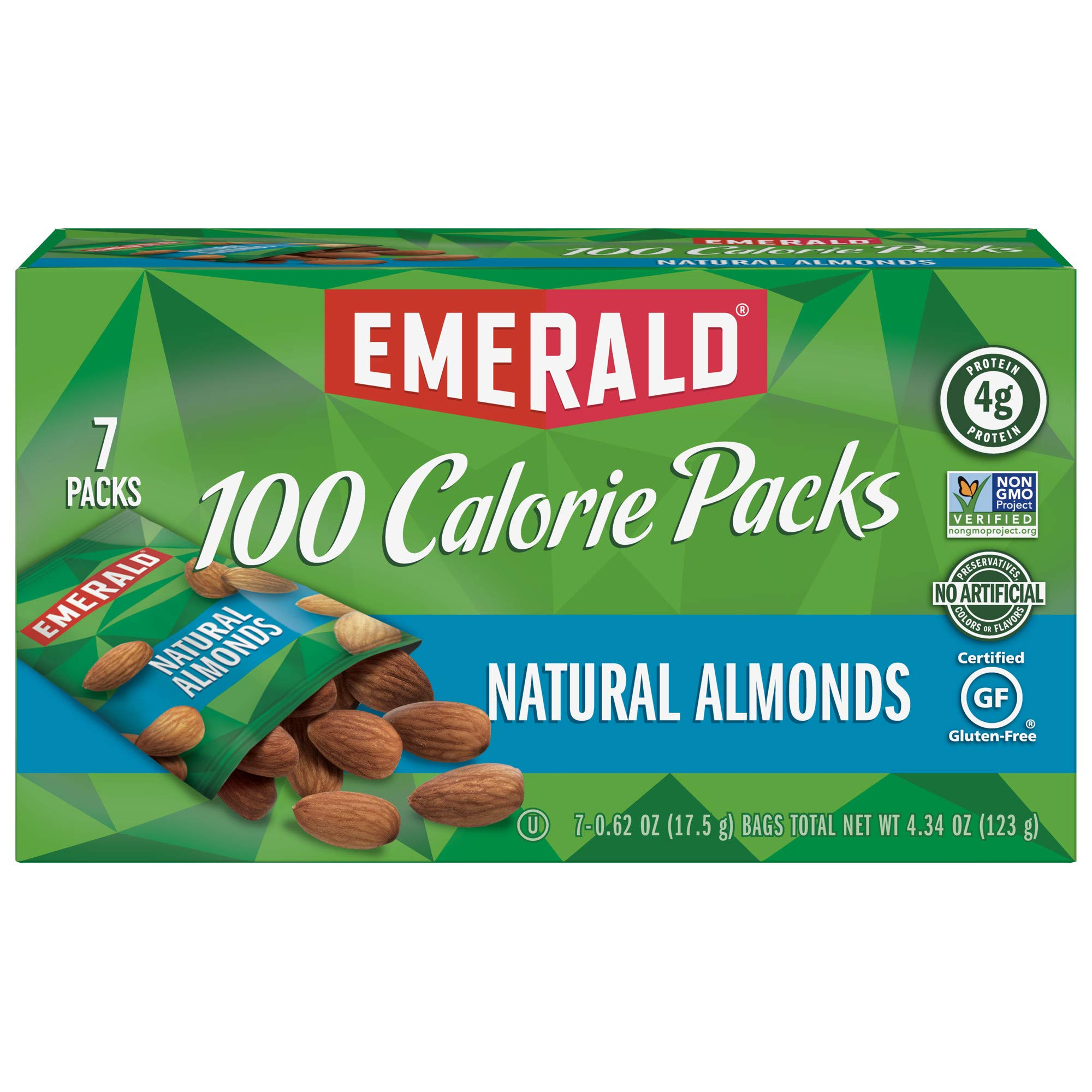 Emerald Nuts, Natural Almonds 100 Calorie Packs, 7 Count Boxes (Pack of 12