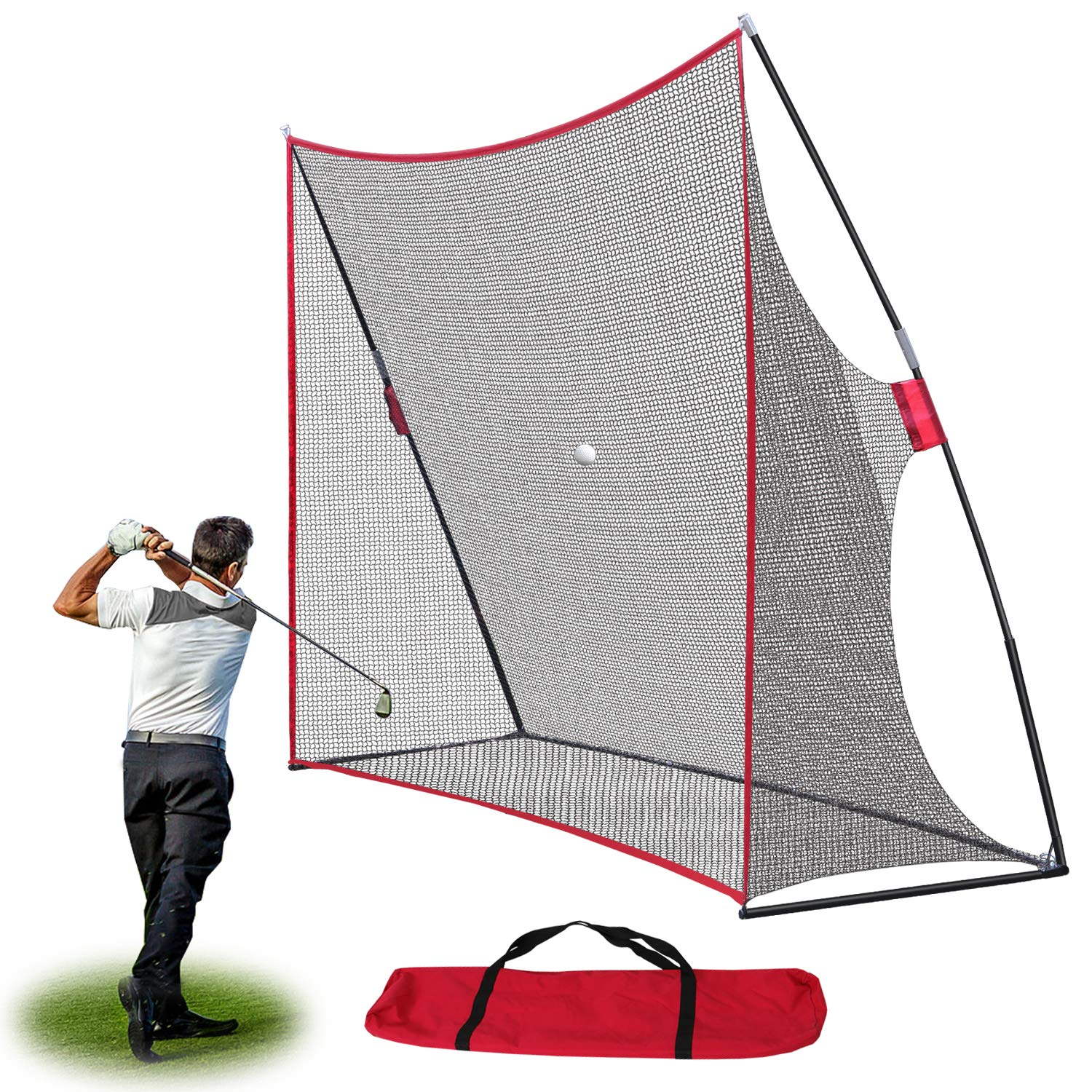 Smartxchoices 10x7ft Large Golf Net Golf Practice Driving Pitching Hitting Training Net w/Carry Bag for Backyard/Indoor/Outdoor by Smartxchoices