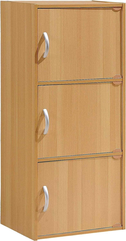 3-Door Multi-Purpose Cabinet Multiple Colors Hodedah 3-Shelf .A Beech