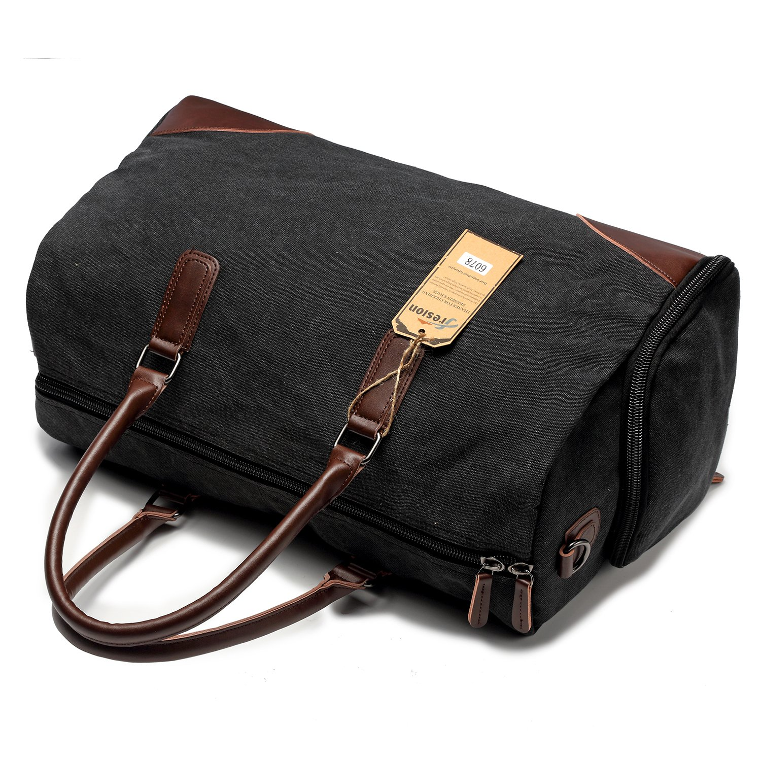 Fresion Canvas Leather Carry on Bag Weekender Overnight Holdall Tote Bag with Metal Buckle for Men with Shoe Pouch(Black)