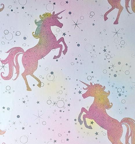 Girls Pink Purple Unicorn Theme Silver Glitter Vinyl Wallpaper Metallic Effect