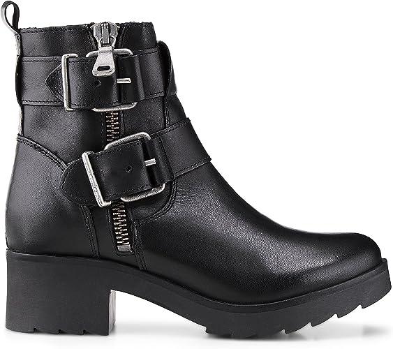 Another A Damen Damen Plateau Stiefeletten, Schwarze Biker Stiefel aus Leder mit Zipper und Schnallen