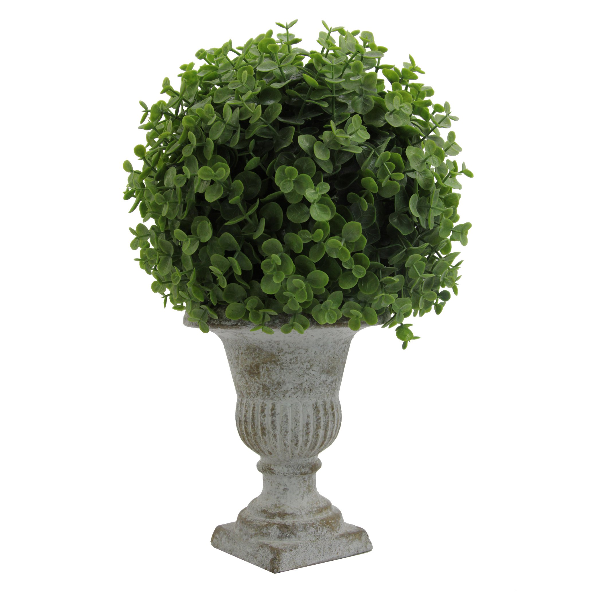 Admired By Nature GG7655-GREEN 13'' Tall Artificial Desktop Potted Eucalyptus Ball with Ceramic Pot, Green by Admired By Nature