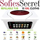 """SofiesSecret XXL Deodorizing Body Wash Cloths, 12""""x12"""", Rinse Free Wipes for Hands, Face, Body, Womanhood and Manhood, Made with ONLY Natural Ingredients & Extracts, Super Thick"""