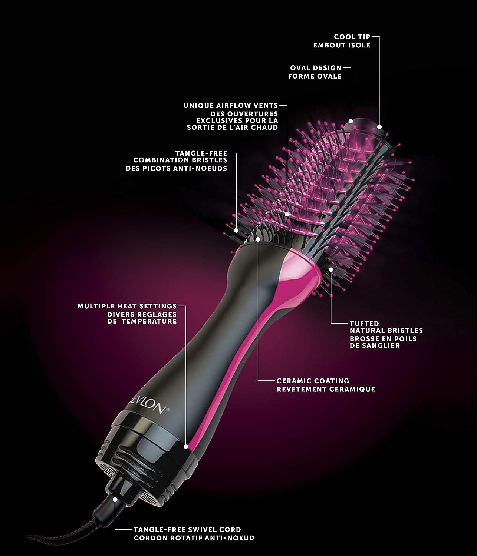 Revlon Pro Collection Salon One-Step - Secador y volumizador de pelo (3 posiciones de calor, 2 velocidades, revestimiento cerámico, mango ergonómico), negro y rosa: Amazon.es: Salud y cuidado personal