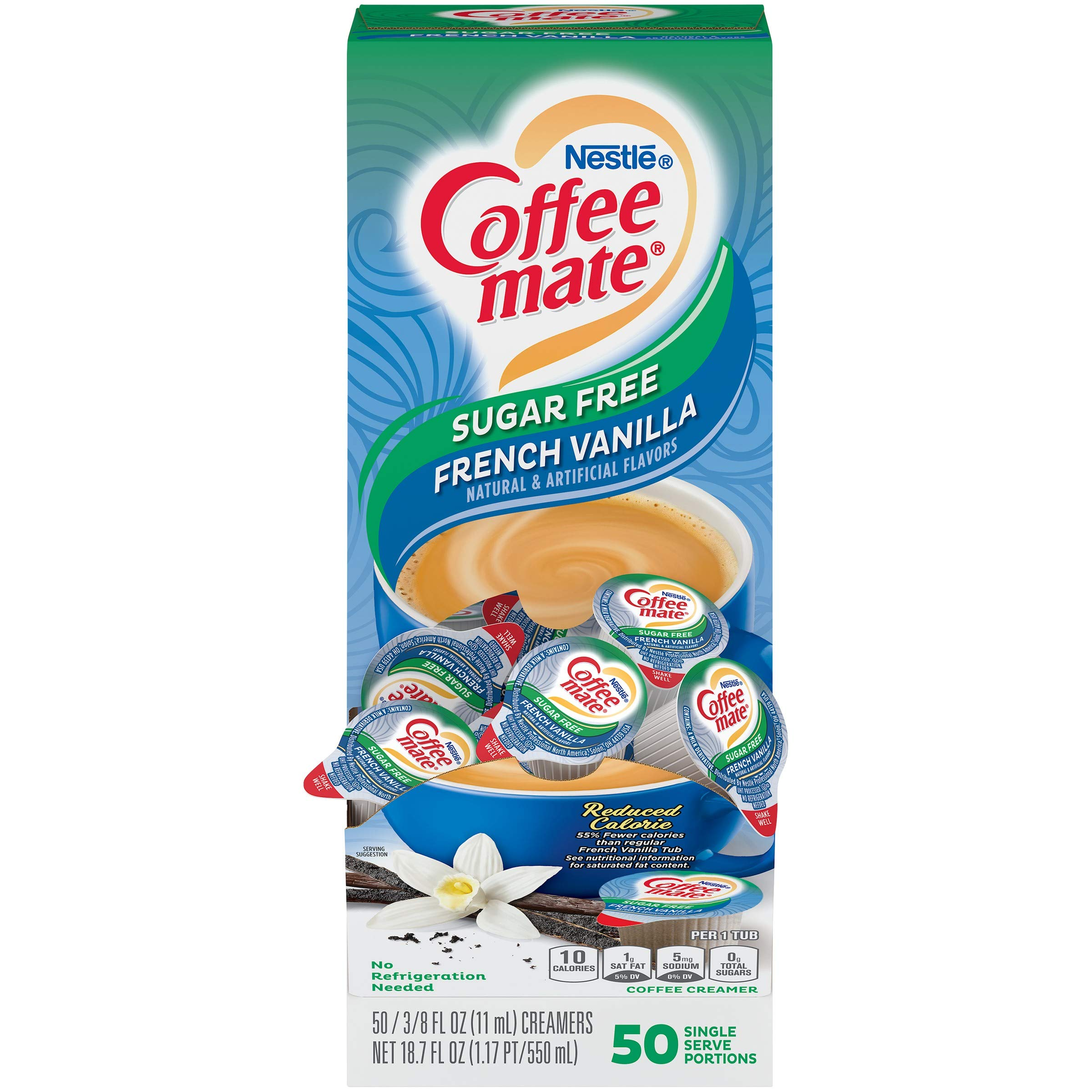 Nestle Coffee mate Coffee Creamer, Sugar Free French Vanilla, Liquid Creamer Singles, Non Dairy, No Refrigeration, Box of 50 Singles