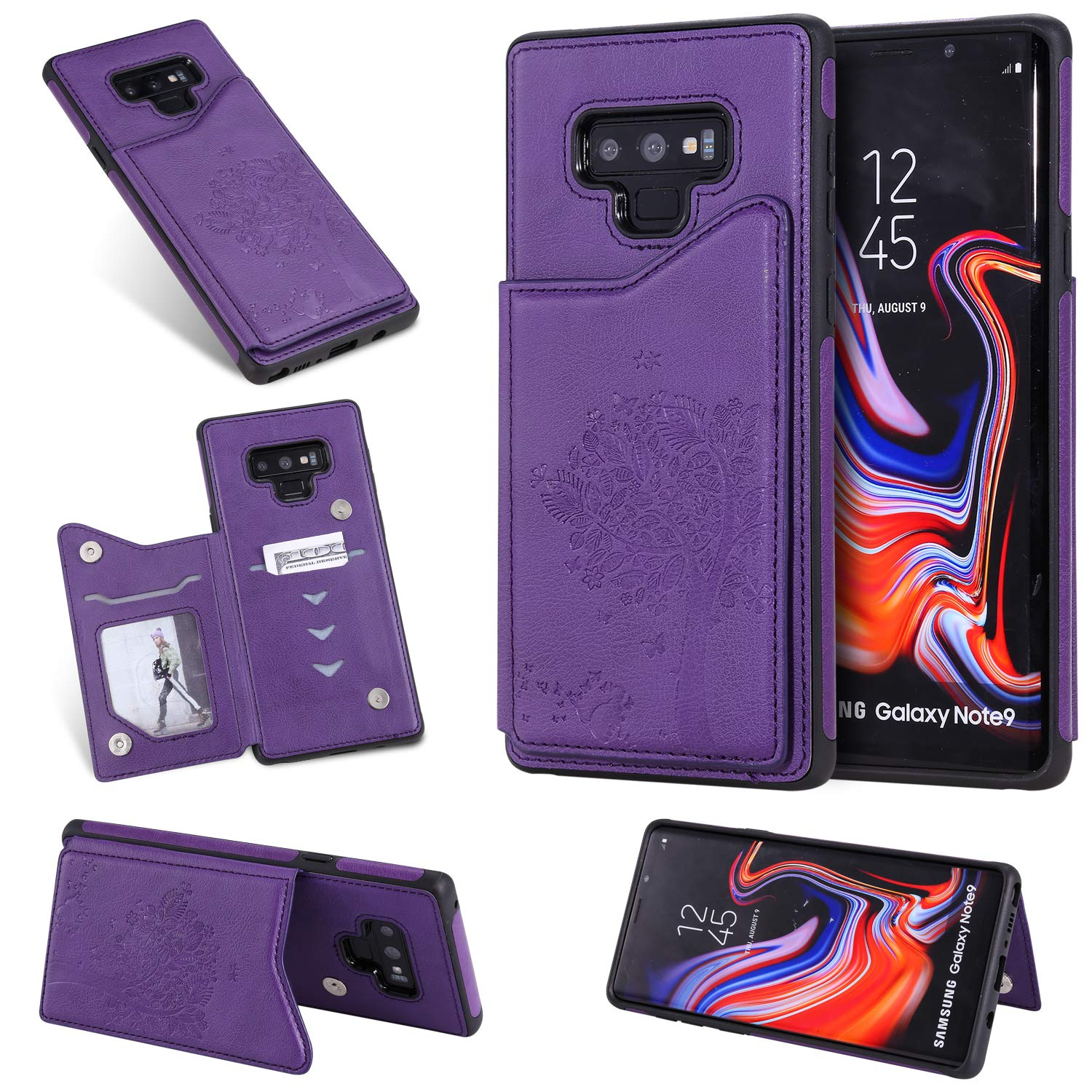 DAMONDY Wallet Case for Galaxy Note 9,Emboss Tree Cat Slim Protective Case with Credit Card Slot Holder Flip Folio Soft PU Leather Magnetic Closure Cover Case for Samsung Galaxy Note 9-Purple by DAMONDY