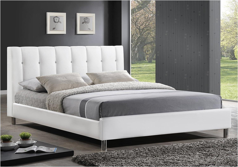 Baxton Studio Vino Modern Bed with Upholstered Headboard, Full, White