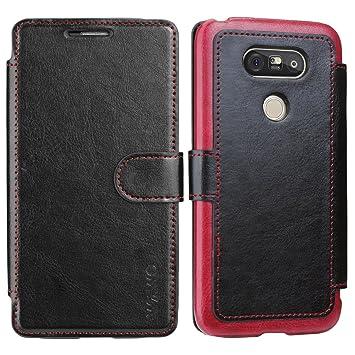 Funda Para LG G5 - WAWO Funda De Piel Tipo Cartera Para LG G5 Wallet Case - Negro (Card Slot Vintage Series)(Funda Con Tapa LG G5 Carcasa)