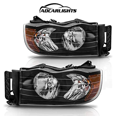 Headlight Assembly for Dodge Ram Pickup Truck 2002 2003 2004 2005/1500 2500 3500,Headlamps Replacement Black Housing Amber Reflector Clear Lens (Passenger and Driver Side): Automotive