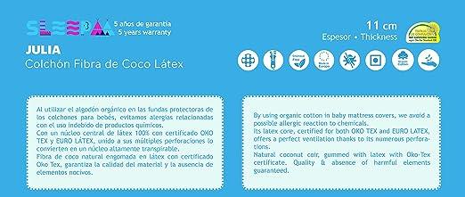 Colchón de cuna LÁTEX 100% para cunas de 120x60cm antiácaros hipoalergenico transpirable adaptable al cuerpo del bebe buena firmeza: Amazon.es: Bebé