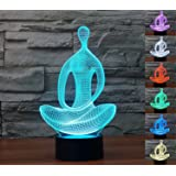 [New Arrival] Lmeison Sitting Meditation Visual Effect 3D Illusion Lamp 7 LED Colors Change Décor Atmosphere Lamp with USB Cable Smart Touch Button Control, Creative Gift Toys Decorations