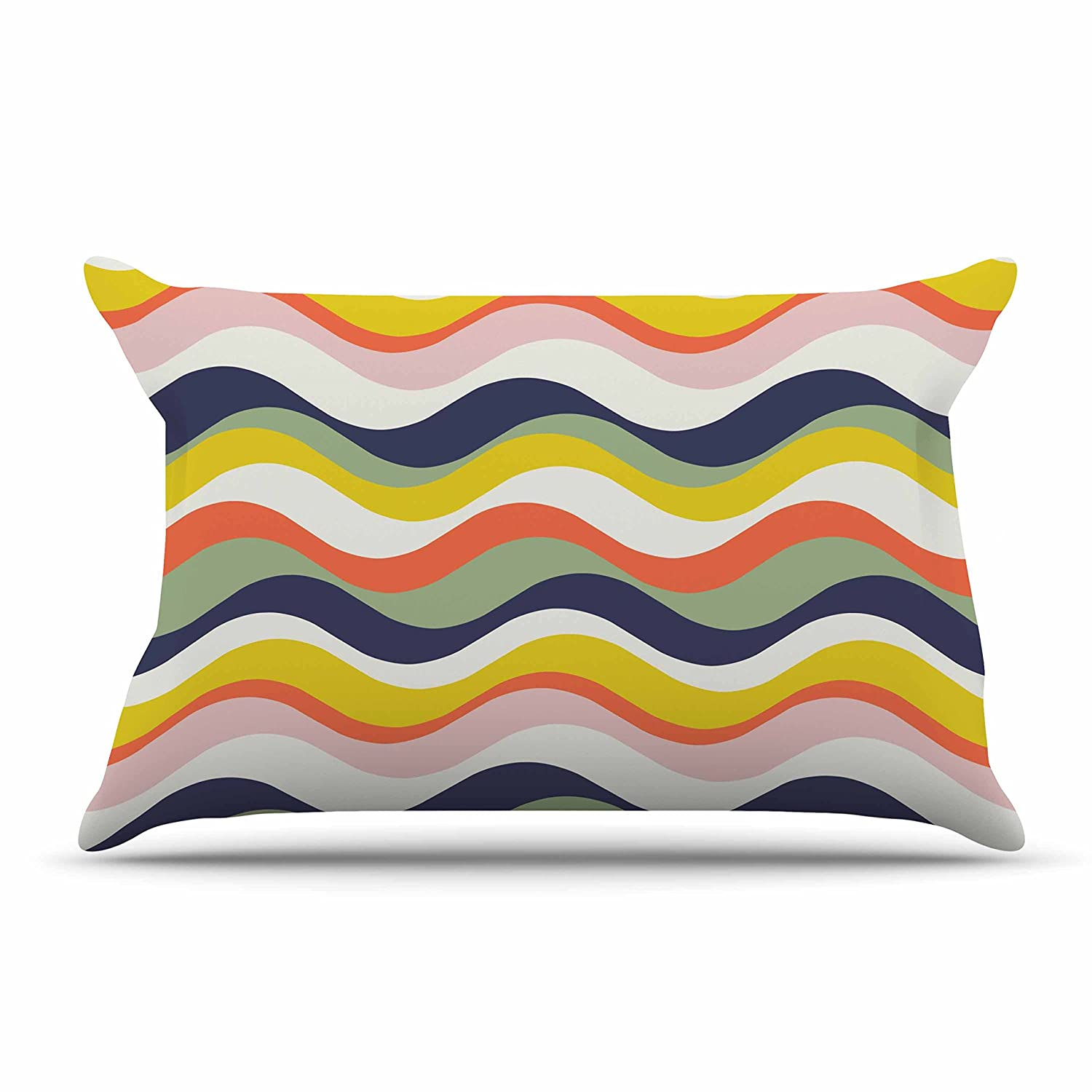 Kess InHouse Gukuuki Rainbow Stripes Multicolor Stripe Standard Pillow Case, 30 by 20-Inch, 30\' X 20\'