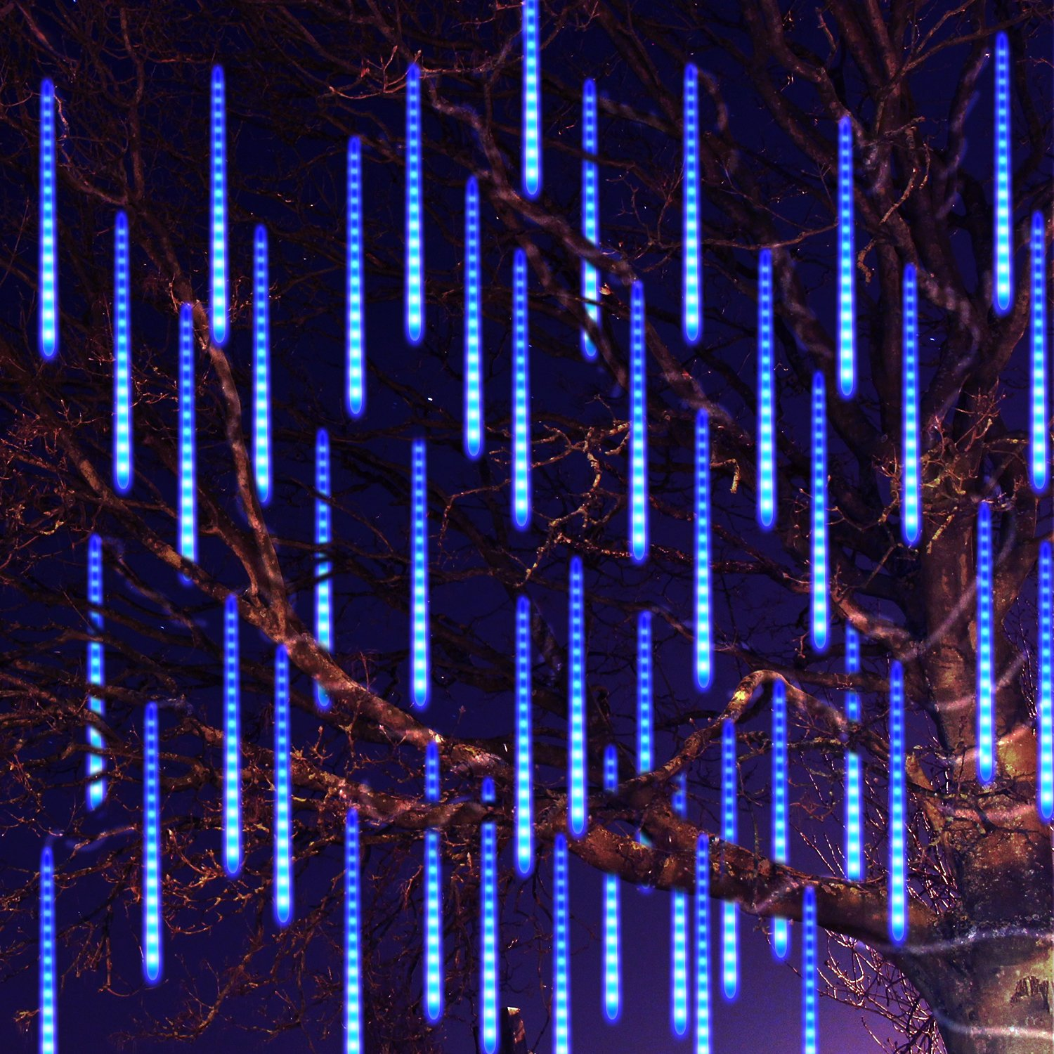 Meteor Shower Rain Lights Waterproof String for Wedding Party Christmas Xmas Decoration Tree Party Garden String Light Outdoor 10FT 8 Tube 144 led Lamp beads (Blue)