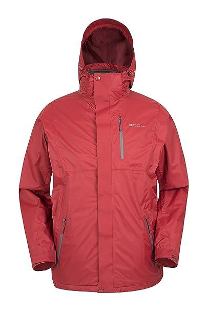 Mountain Warehouse Chaqueta impermeable 3 en 1 Bracken Extreme para hombre - Abrigo de invierno ajustable, abrigos compatibles con auriculares - Para ...