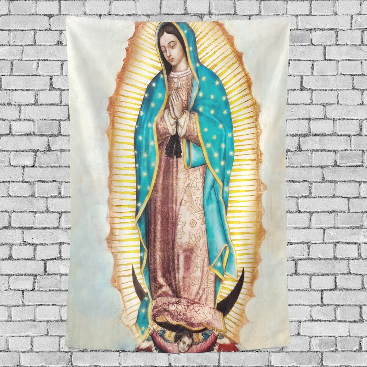 """Donnapink Wall Tapestry Holly Mary Blessed Virgin Mary Our Lady of Guadalupe Mother of God 40""""X60"""" Wall Hanging Bedspread for Home Livingroom Dorm"""