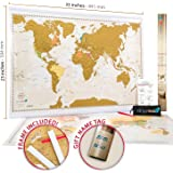 """LARGE Scratch off Map of the World with FRAME INCLUDED and SPECIAL NAME TAG GIFT PACK - Premium 34"""" x 24"""" Peel Off World Map for Travelers A1 format, Scratch Pen + Accessories Bag by Infinyway"""